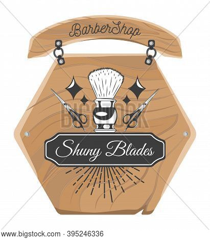 Wooden Plate Or Board For Barbershop. Shaving Brush, Stars, Scissors, Decoration Elements. Using For