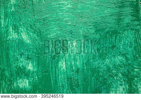 Roughly Painted Green Wall. Evidence Of Green Paint. Beautiful Abstract Grunge Green Stucco Wall Bac