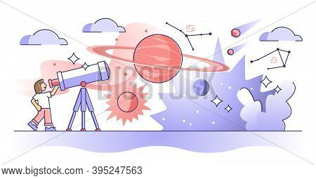 Astronomy Study As Universe, Planet And Stars Research Outline Concept. Outer Space And Cosmos Knowl