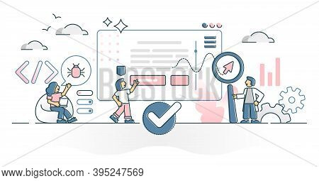 Web Testing As Website Bugs And Coding Errors Search Process Outline Concept. Programming Mistakes C