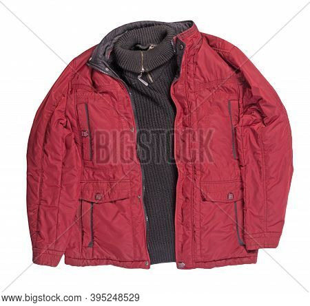 Red Jacket And Balck Sweater Isolated On White Background.bologna Jacket And Wool Sweater Top View