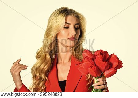 Girl Confident Business Lady Formal Red Jacket. Gorgeous And Stylish. Red Suits Her. Pretty Woman Ma
