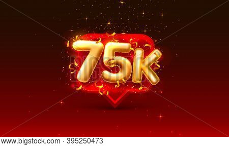 Thank You Followers Peoples, 75k Online Social Group, Happy Banner Celebrate, Vector