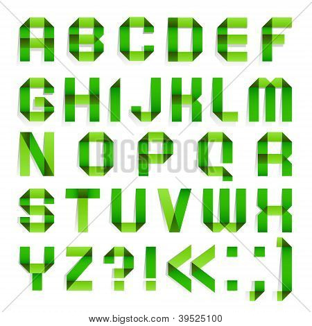Alphabet folded paper - Green letters.