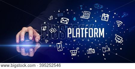 hand holding wireless peripheral with PLATFORM inscription, social media concept