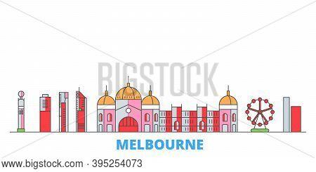 Australia, Melbourne City Line Cityscape, Flat Vector. Travel City Landmark, Oultine Illustration, L