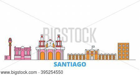 Chile, Santiago Line Cityscape, Flat Vector. Travel City Landmark, Oultine Illustration, Line World