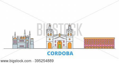 Argentina, Cordoba Line Cityscape, Flat Vector. Travel City Landmark, Oultine Illustration, Line Wor