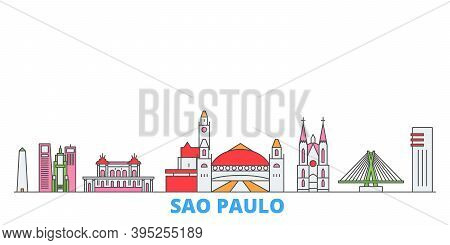 Brazil, Sao Paulo Line Cityscape, Flat Vector. Travel City Landmark, Oultine Illustration, Line Worl