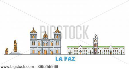 Bolivia , La Paz Line Cityscape, Flat Vector. Travel City Landmark, Oultine Illustration, Line World
