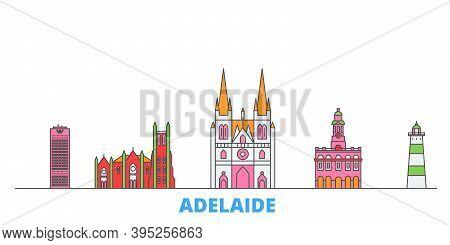 Australia, Adelaide Line Cityscape, Flat Vector. Travel City Landmark, Oultine Illustration, Line Wo