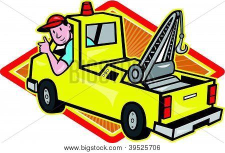 Tow Wrecker Truck Driver Thumbs Up