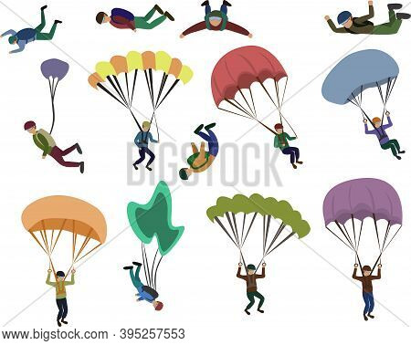 Set Of Skydiver Flying With A Parachute, Extreme Sport