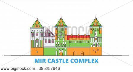 Belarus, Mir Line Cityscape, Flat Vector. Travel City Landmark, Oultine Illustration, Line World Ico