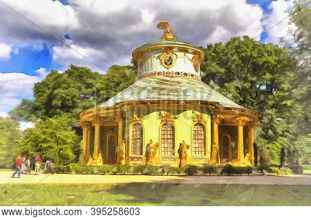 Beautiful View On Park With Chinese Teahouse Old Building Colorful Painting Looks Like Picture