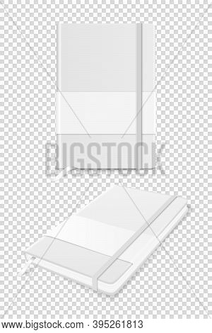 Vector 3d Realistic White Closed Blank Paper Notebook With Label And Bookmark Set Isolated. Design T