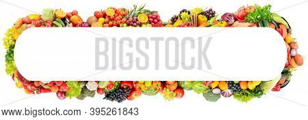 Rectangular wide frame of bright and colorful fruits, vegetables and berries isolated on white background.