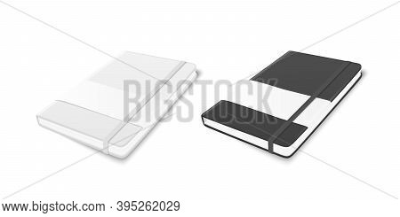 Vector 3d Realistic White And Black Closed Blank Paper Notebook With Elastic Band And Label Set Isol