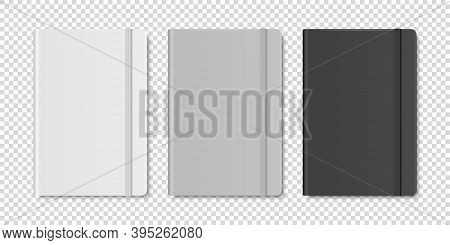 Vector 3d Realistic White, Gray, Black Closed Blank Paper Notebook Set Isolated On Transparent Backg