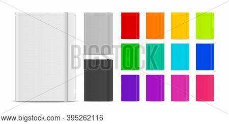 Vector 3d Realistic Closed Blank Paper Notebook With Elastic Band Set Isolated On White Background.