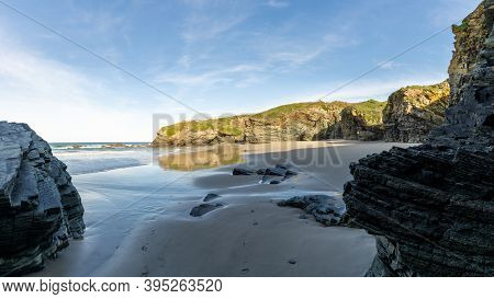 A View Of The Coast And Beaches Near Playa De Catedrales In Galicia