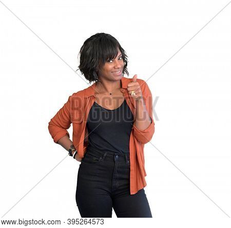 African american woman with red shirt standing on white background, isolated