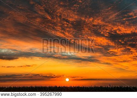 Background Sky At Sunset And Dawn .  Red Cloud Sky