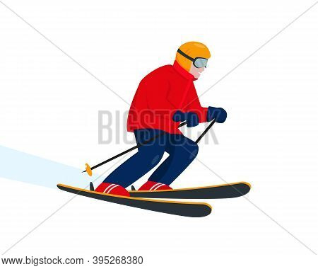 Skier Character Isolated On White Background. Ski Resort And Winter Extreme Sport Concept. Vector Il