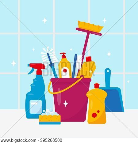 Cleaning Service. Household Cleaning Products And Tools. Vector Illustration On Blue Background.