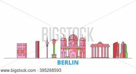 Germany, Berlin City Line Cityscape, Flat Vector. Travel City Landmark, Oultine Illustration, Line W