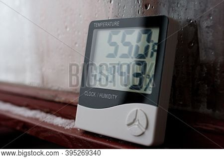 Thermometer And Hygrometer Of Electronic To Control Temperature And Humidity. Humidity Indicator Is