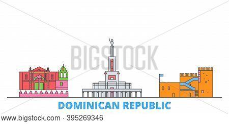 Dominican Republic Line Cityscape, Flat Vector. Travel City Landmark, Oultine Illustration, Line Wor