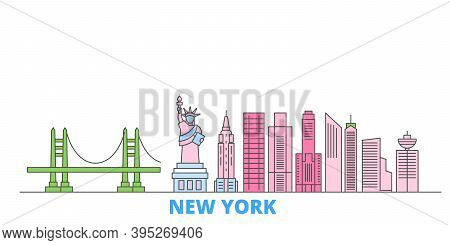 United States, New York City Line Cityscape, Flat Vector. Travel City Landmark, Oultine Illustration