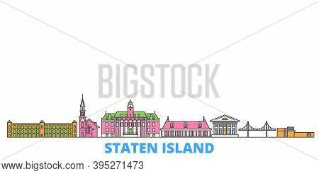 United States, New York Staten Island Line Cityscape, Flat Vector. Travel City Landmark, Oultine Ill