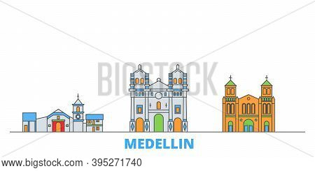 Colombia, Medellin Line Cityscape, Flat Vector. Travel City Landmark, Oultine Illustration, Line Wor