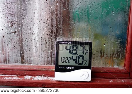 Humidity Indicator Is Indicated On The Hygrometer Of The Device. An Image Of Electronic Device To Ch