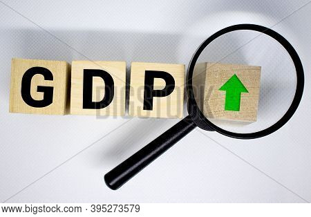 Gdp, Gross Domestic Product Concept, Cube Wooden Block With Alphabet Combine Abbreviation Gdp, Measu