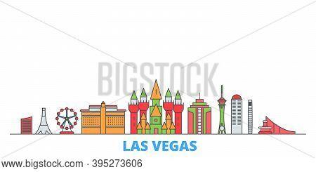 United States, Las Vegas Line Cityscape, Flat Vector. Travel City Landmark, Oultine Illustration, Li