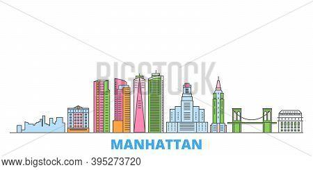 United States, New York Manhattan Line Cityscape, Flat Vector. Travel City Landmark, Oultine Illustr