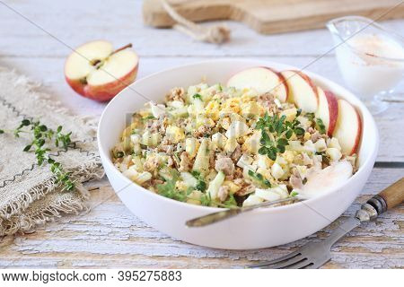 Tuna Salad With Egg And Cucumber, Greek Yoghurt And Paprika Sauce