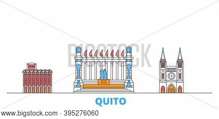 Ecuador, Guayaquil, Quito Line Cityscape, Flat Vector. Travel City Landmark, Oultine Illustration, L