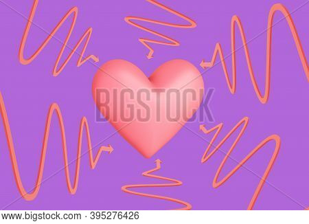 Heart On Fuchsia Background With Pointing Curved Arrows, Love Concept, 3d Illustration