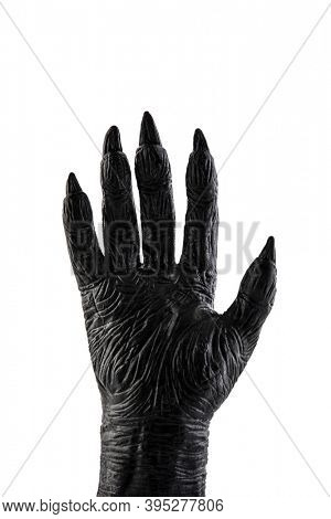 Creepy monster hand isolated on white background with clipping path