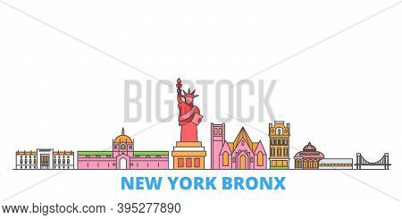 United States, New York Bronx Line Cityscape, Flat Vector. Travel City Landmark, Oultine Illustratio