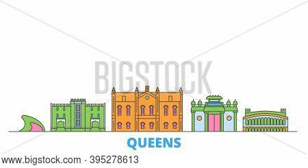 United States, New York Queens Line Cityscape, Flat Vector. Travel City Landmark, Oultine Illustrati