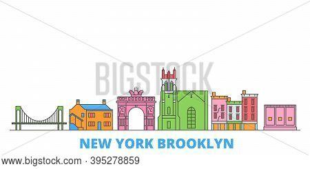 United States, New York Brooklyn Line Cityscape, Flat Vector. Travel City Landmark, Oultine Illustra