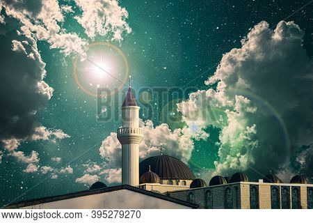 Mosque Against The Background Of Sunset, Light Of A New Star