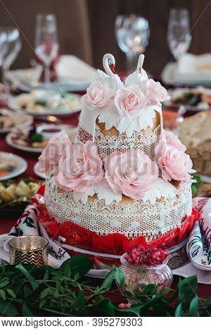 Ukrainian Wedding Bread. Traditional Wedding Symbol. Wedding Celebration