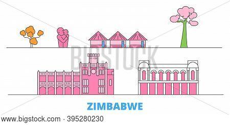 Zimbabwe Line Cityscape, Flat Vector. Travel City Landmark, Oultine Illustration, Line World Icons
