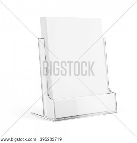 Glass Plastic Transparent Holder Stand with blank white paper isolated on white. 3d rendering mockup template